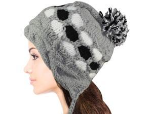 Women's Dangle Pompom Acrylic Knit Boho Hat - Gray