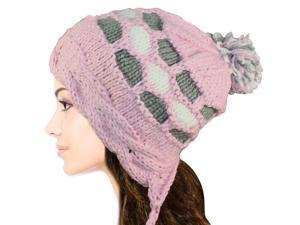 Women's Dangle Pompom Acrylic Knit Boho Hat - Pink