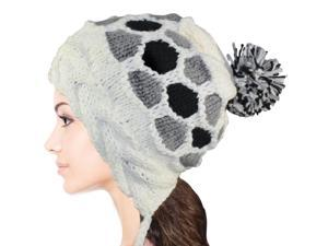 Women's Dangle Pompom Acrylic Knit Boho Hat - White