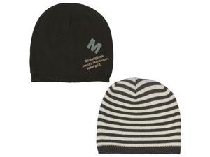 Men's Reversible Stripes and Solid Color Acrylic Beanie Hat - Brown