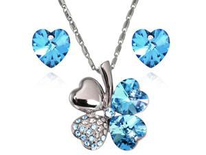 Lucky Love Heart Shaped Swarovski Elements Crystal Four Leaf Clover Rhodium Plated Pendant Necklace and Earrings Set - Aquamarine ...