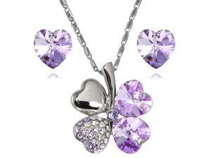 Lucky Love Heart Shaped Swarovski Elements Crystal Four Leaf Clover Rhodium Plated Pendant Necklace and Earrings Set - Amethyst ...