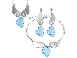 Cupid Swarovski Elements Heart Shaped Crystal Sparkling Wing Rhodium Plated Necklace Earrings and Bracelet Set - Aquamarine ...