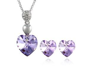 Crystal Heart Swarovski Elements Heart Shaped Crystal Rhodium Plated Pendant Necklace and Stud Earrings Set - Amethyst Purple