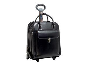 McKlein La Grange Leather Vertical Detachable-Wheeled Ladies' Briefcase (Black)