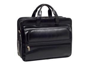 Mcklein Elston Leather Double Compartment Laptop Case (Black)