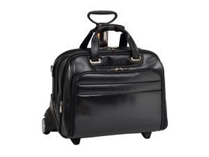Mcklein Midway Leather Checkpoint-Friendly Detachable Wheeled Laptop Case(Black)