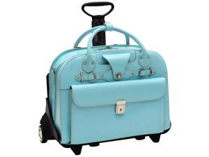 McKlein Roseville Leather Ladies Wheeled Briefcase (Aqua Blue)