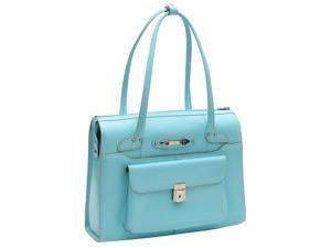 McKlein Wenonah Leather Ladies Briefcase (Aqua Blue)