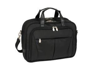 McKlein Pearson Nylon Expandable Double Compartment Briefcase (Black)