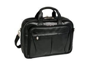 McKlein Pearson Leather Expandable Double Compartment Briefcase (Black)