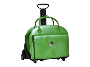 McKlein Glen Ellyn Leather Detachable-Wheeled Ladie's Case w/ Removable Sleeve (Green)