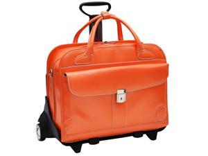 McKlein Lakewood Leather Ladies Wheeled Briefcase (Orange)