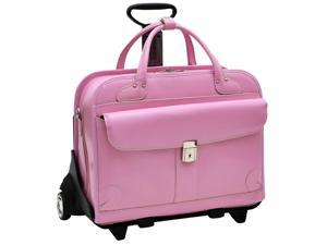 McKlein Lakewood Leather Ladies Wheeled Briefcase (Pink)