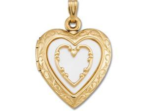 14K Yellow Gold 14Ky With Mother Of Pearl Heart Locket 20.50X19.50 - OEM