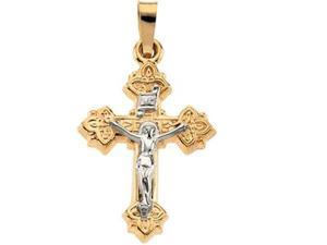 14K Yellow/White Gold Two Tone Crucifix Pendant  4.2 - OEM
