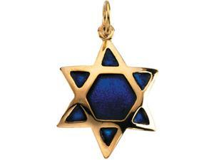 14K Yellow Gold Domed Star Of David W. Blue Enamel8. 7 5X6. 0 0 - OEM