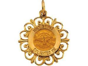 CleverSilver's 14K Yellow Gold Round Holy Spirit Pendant Medal