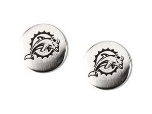 Stainless Steel 10.00mmx10.00mm Miami Dolphins Logo Stud Earrings - OEM