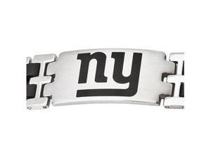 Stainless Steel New York Giants Stainless And Rubber Team Logo Bracelet