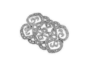 CleverSilver's 14K White Gold Diamond Brooch 1/ 3 Ct Tw