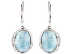 Genuine Larimar Earrings Sterling Silver Pair 14.00X10.00 mm - OEM