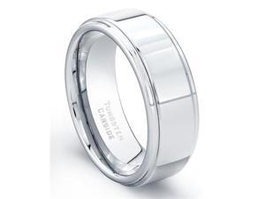 Tungsten Carbide Ring High Polish Finish Beveled Edges Comfort Fit Size 8.5