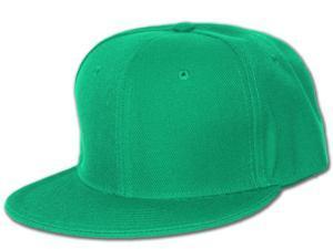 Plain Fitted Flat Bill Hat - Kelly Green