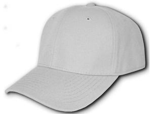 Blank Fitted Curved Cap Hat - Grey