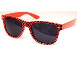 Checkered Wayfarer Sunglasses Orange