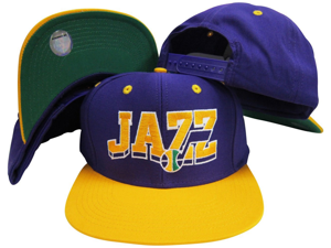 Utah Jazz Purple / Yellow Wave Two Tone Plastic Snapback Adjustable Cap