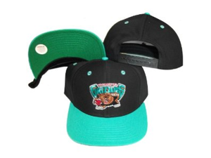 Vancouver Grizzlies Black/Teal Two Tone Snapback Adjustable Plastic Snap Back Hat / Cap