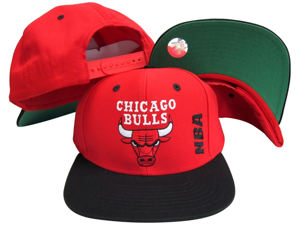 Chicago Bulls NBA Side Logo Red/Black Adjustable Plastic Snap Back Hat / Cap