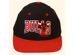 Chicago Bulls NBA Windy City Wave  Adjustable Hat, Black and Red + GT Wristband