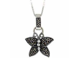 Sterling Silver Genuine Marcasite Stone Butterfly Pendant