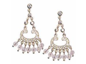 18K Gold over Sterling Silver Celebrity Inspired CZ & Pink CZ Beads Chandelier E