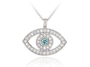 Sterling Silver Aquamarine & Clear CZ Evil Eye Pendant