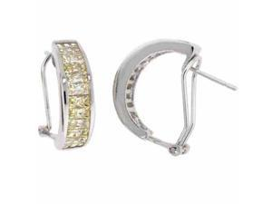 Sterling Silver Yellow Cubic Zirconia Half Hoop Earrings