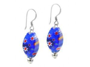 Sterling Silver Dark Blue Murano Glass Oval Bead Millefiori Earrings