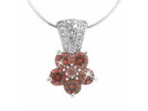 Sterling Silver Simulated Diamond CZ and Orange Cubic Zirconia Pave Flower Penda