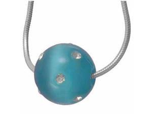 Simulated Diamond CZ Confetti Teal  Cats Eye Ball Pendant