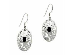 Sterling Silver .925 Genuine Onyx Stone Moon & Star Oval Dangle Earrings