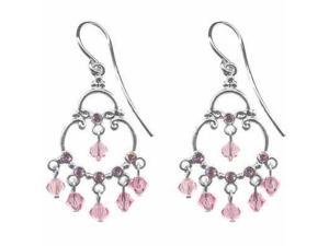 Sterling Silver Pink cz and Pink Genuine Swarovski  Crystal Chandelier Earrings