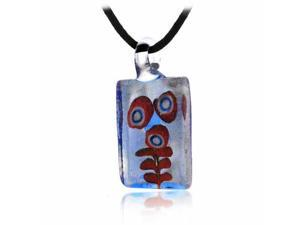 Murano Glass Coral Reef Ocean design Orange Blue Silver Glitter Mini Rectangle S