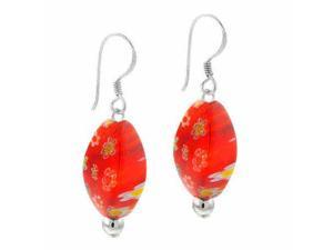 Sterling Silver Orange Murano Glass Oval Bead Millefiori Earrings