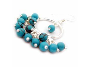 Sterling Silver Chandelier earrings with Turquoise beads