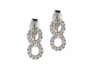 Sterling Silver simulated Diamond cz Double Circle Earrings
