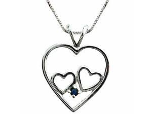 Sterling Silver Double Heart Genuine Sapphire Heart Pendant