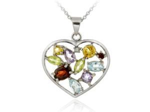 Sterling Silver Multi Gemstone & Diamond Accent Heart Pendant