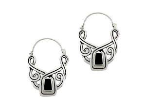 Antique Sterling Silver .925 Genuine Onyx Stone Swirl Inlay Earrings